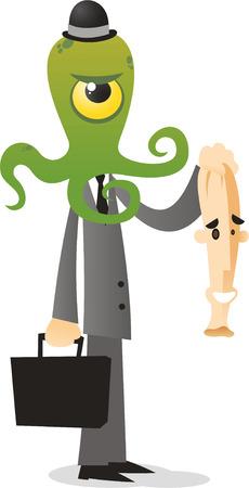 disguise: Alien in human disguise vector cartoon illustration