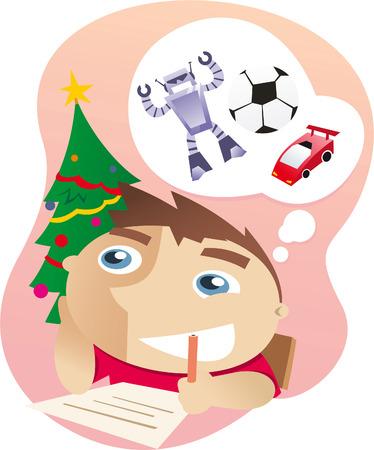 smiley face car: Boy writing a letter to santa claus