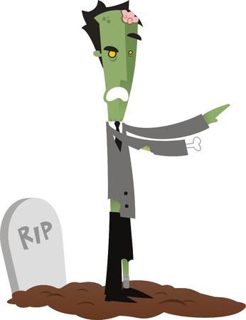 rotting: Living dead on his grave vector cartoon illustration