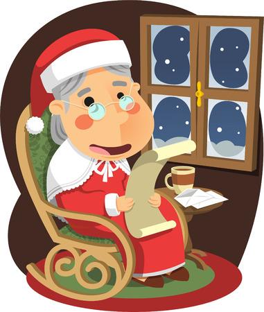 se�ora: Se�ora Claus Madre Santa de la Navidad, ilustraci�n vectorial de dibujos animados. Vectores