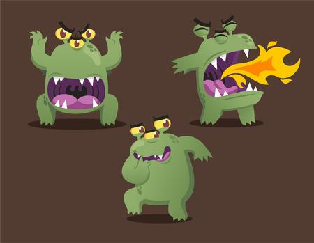 unpleasant: Green monster cartoon action set vector illustration Illustration