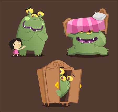 Green monster cartoon action set vector illustration Illustration