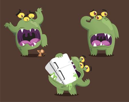 Green monster cartoon action set vector illustration Vector