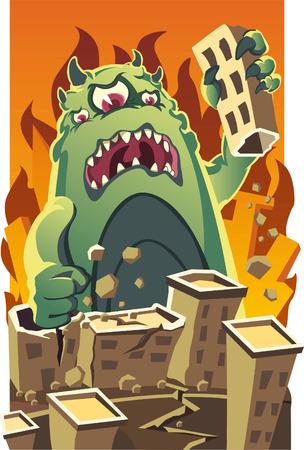 inhaling: Huge mosnter destroying a city vectoon cartoon illustration