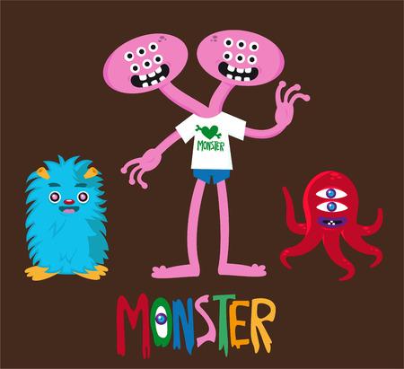 Cute monster vector cartoon set