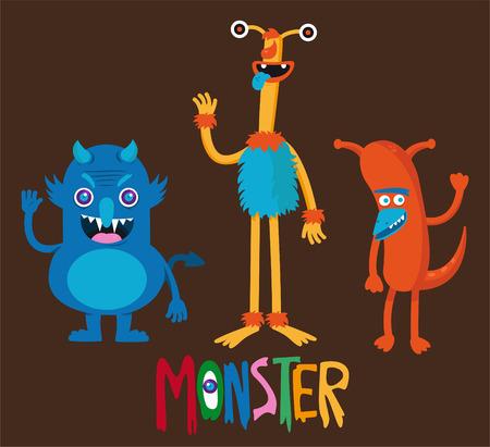 animated alien: Cute monster vector cartoon set