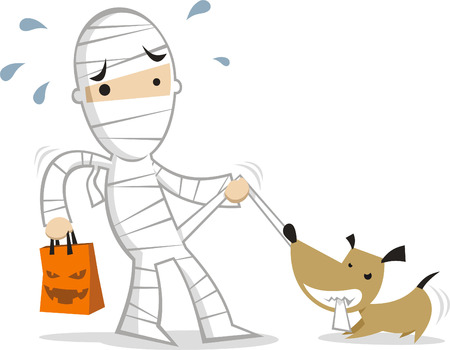 Little boy wearing a mummi costume playing with his dog illustration
