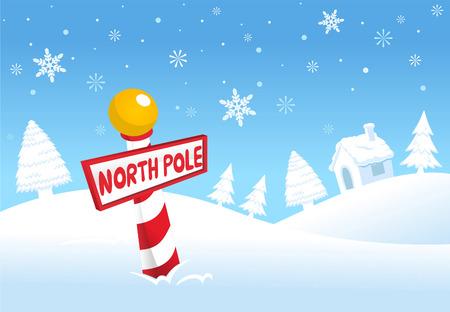 white christmas: Noordpool kersttafereel Stock Illustratie