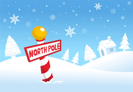 wood sign: North pole christmas scene Illustration