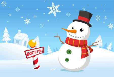 북극 크리스마스 눈사람 일러스트