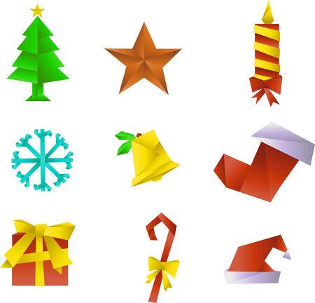 japanesse: Origami christmas icons Illustration