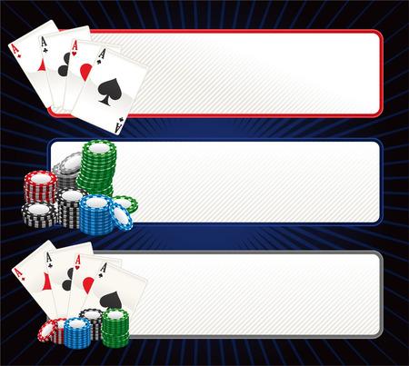 ace: Poker banner set vector illustration. Illustration