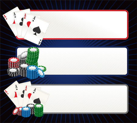 Poker banner set vector illustration. Illustration