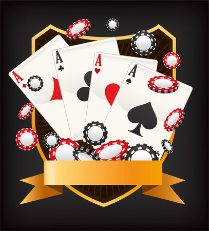 ace: Poker Ace Banner Emblem with coins and cards vector illustration.