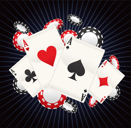 poker game: Full Ace Poker with stripped black background vector illustration cartoon, with cards and coins poker splash.