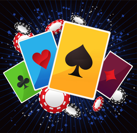 wining: Jack, queen, king and ace poker suits with shining blue lines and poker coins vector illustration.
