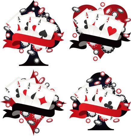 conquering adversity: Poker Ace Banner Emblem Set Vector illustration.