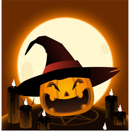 Halloween pumpkin head magic ritual cartoon illustration