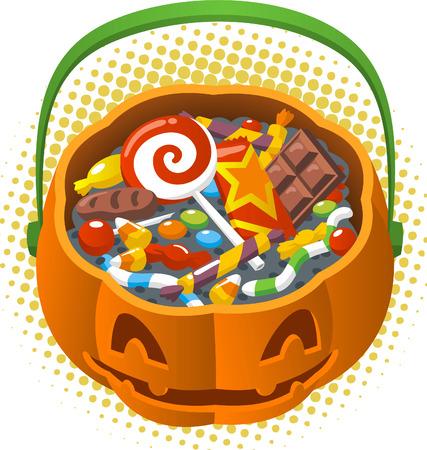 Pumpkin head candy basket cartoon illustration