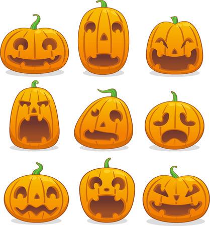 Halloween pompoen hoofd icoon avatar collectie