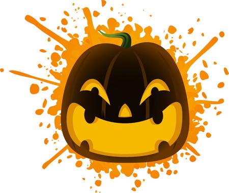 Halloween cartoon pumpkin splash Illustration