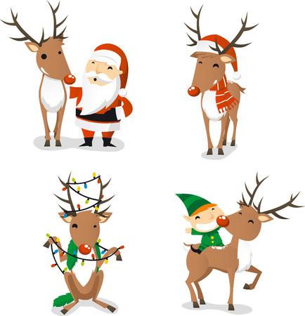 running reindeer: Reindeer cartoon set Illustration