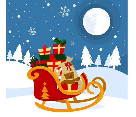 Kerstman slee met kerst cadeautjes Stock Illustratie