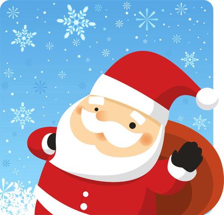 christmas nativity: Santa claus carrying bag of christmas presents