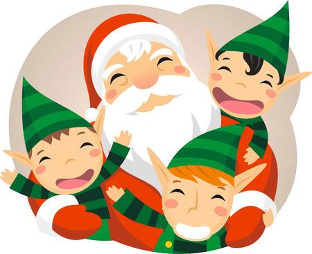 Santa claus with elfs Vettoriali