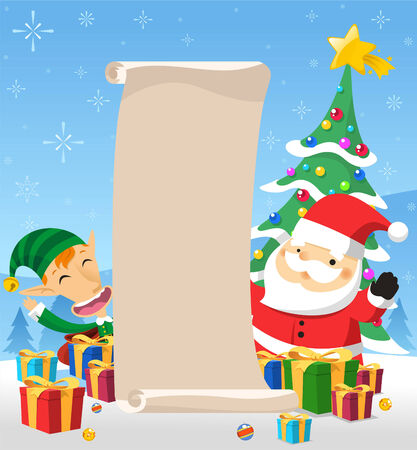 holding a christmas ornament: santa claus with list of christmas presents Illustration