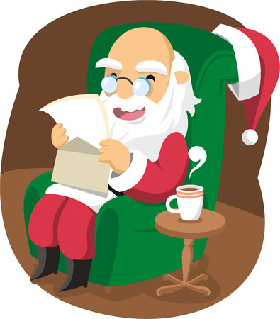 mature adult: Santa claus reading letters Illustration