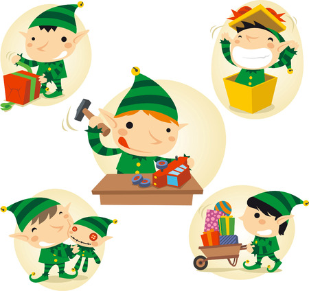 Santa´s Elves action scenes Illustration