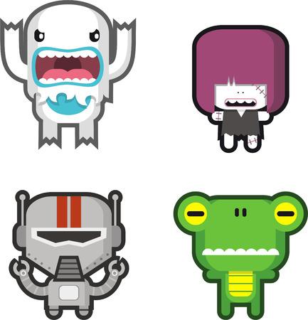 Cute monster vector cartoon set Vector