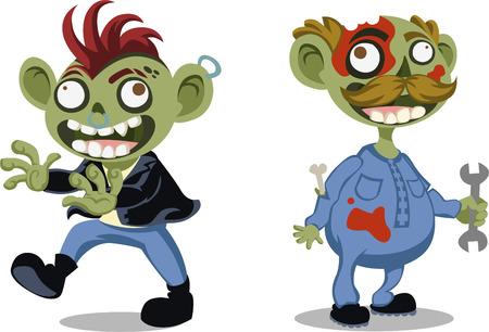 poisonous organism: Halloween cartoon zombie vector illustration
