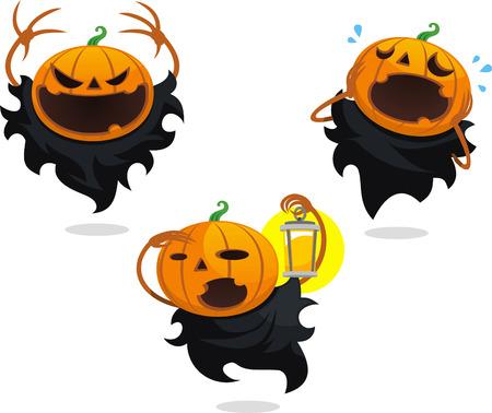 Jack o lantern halloween vector cartoon set Ilustracja