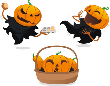 jack o lantern: Jack o lantern halloween vector cartoon set Illustration