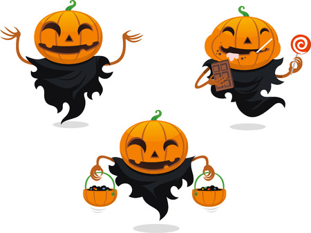Jack o lantern halloween vector cartoon set Illustration