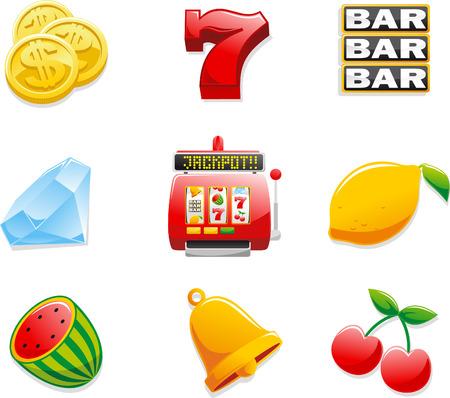 Máquina tragaperras del casino Iconos, con monedas, Siete, Bar, Diamante, Jackpot, limón, sandía, cereza y campana. Ilustración vectorial de dibujos animados. Vectores