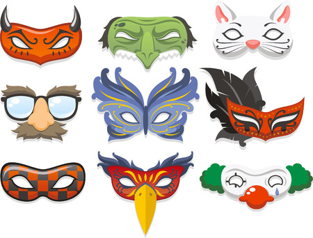 carnival masks: Halloween costume mask cartoon illustration icons Illustration