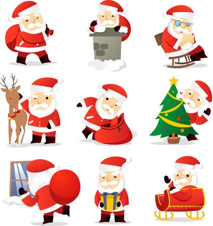 botas de navidad: De Santa claus iconos de dibujos animados