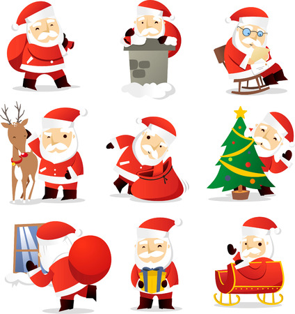christmas paper: Santa claus cartoon icons