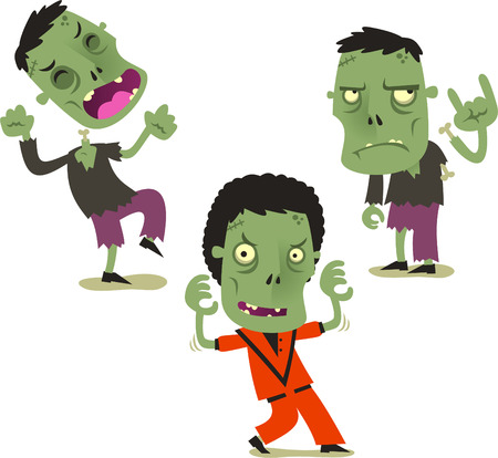 deformed: Halloween zombie cartoon action set vector illustration Illustration