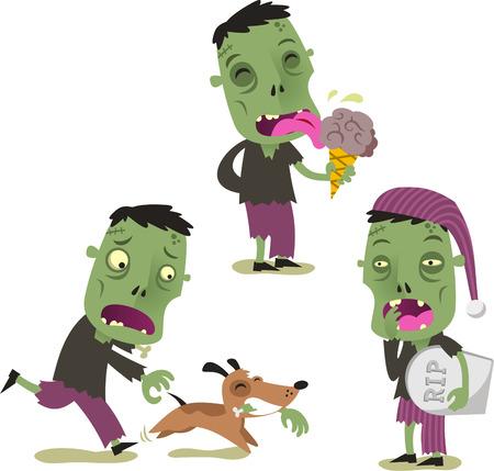 Halloween zombie cartoon action set vector illustration Illustration
