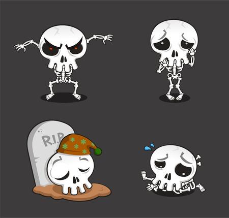 bad apple: Halloween Skeleton cartoon action set vector cartoon illustration
