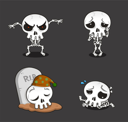 Halloween Skeleton cartoon action set vector cartoon illustration
