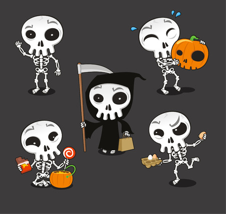Halloween Skeleton vector cartoon illustration
