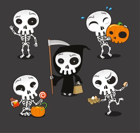 human skeleton: Halloween Skeleton vector cartoon illustration