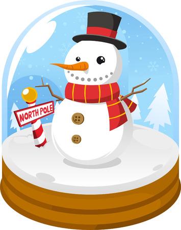 Snow globe with snowman Иллюстрация