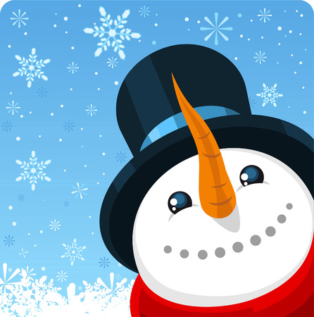 Snowman close up background design Ilustrace