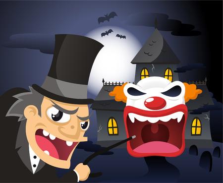 Spookhouse cartoon illustration